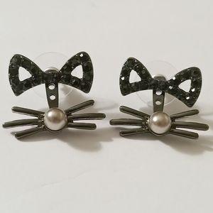 NEW 🐱 Black Kitty Cat Crystal Ear Jacket Earrings